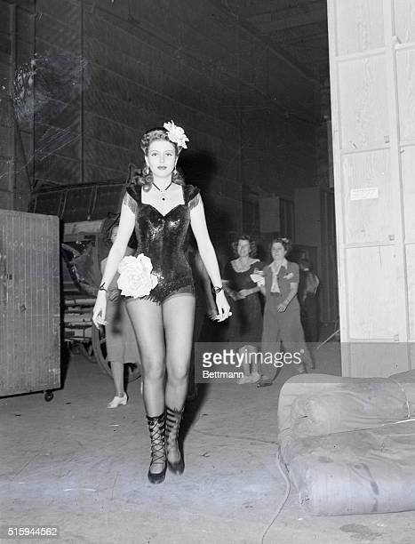 Gay Nineties Chorus Girlis Ann Miller in her newest Columbia Picture 'Go West Young Lady' which is now in production Miss Miller one of the fastest...