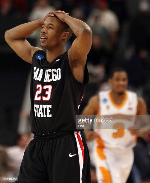 Gay of the San Diego State Aztecs reacts after the loss to the Tennessee Volunteers during the first round of the 2010 NCAA men's basketball...