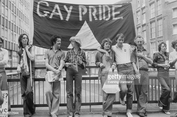 Gay Pride demonstration at the Old Bailey in occasion of the start of the prosecution alleging blasphemous libel brought by Mary Whitehouse against...