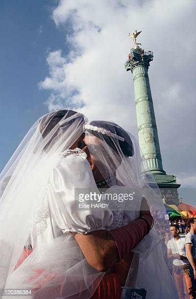 Gay Pride in Paris France Gay wedding at the Bastille during the Gay Pride parade