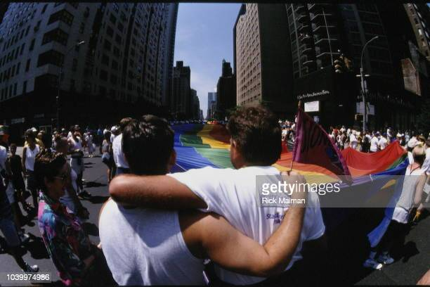 Gay pride parade for 25th anniversary of Stonewall riots in June 28 at the Stonewall Inn in the Greenwich Village