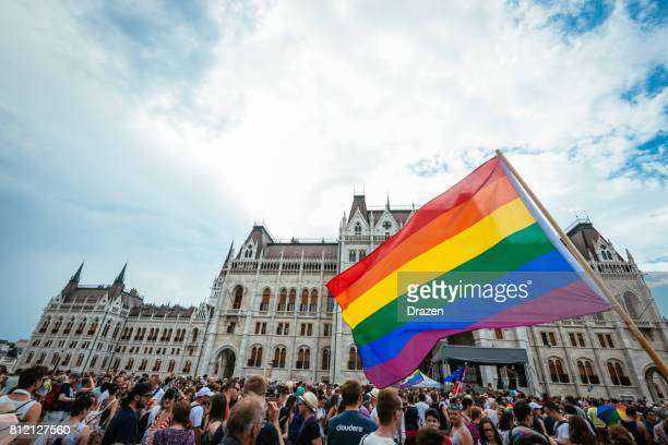 gay pride parade in budapest, hungary - crowd in front of the budapest parliament - hungary stock pictures, royalty-free photos & images