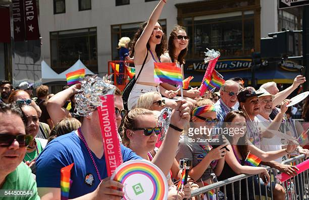 gay pride parade in nyc - parade stock pictures, royalty-free photos & images