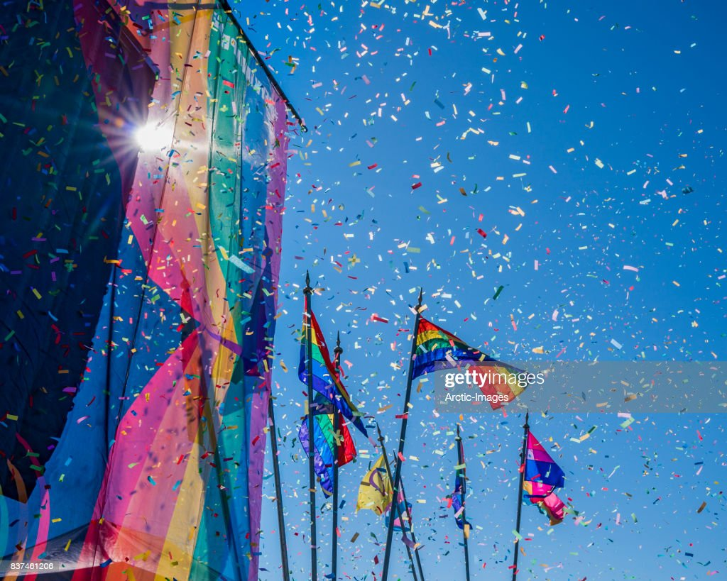 Gay Pride Parade, Rainbow flags and Confetti, Reykjavik, Iceland : ストックフォト