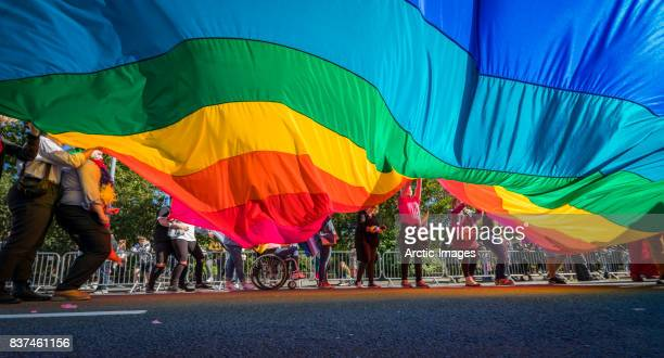 Gay Pride Parade-People marching with a large Flag, Reykjavik, Iceland