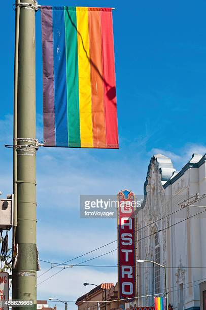 gay pride rainbow flag castro theater san francisco - castro district stock pictures, royalty-free photos & images