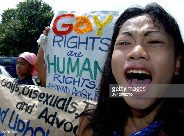 A gay protester shouts anti government slogans to protest the impending government suppression of civil rights during a protest in Manila 27...
