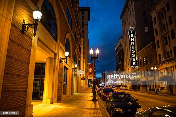 gay street and tennessee theater in knoxville - tennessee stock pictures, royalty-free photos & images
