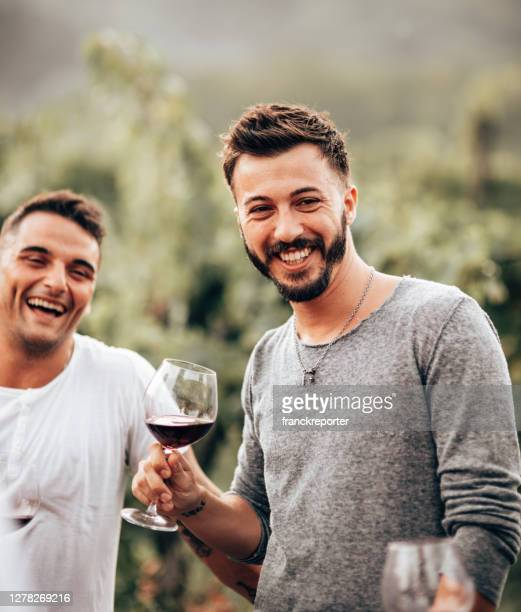 ワインテイスティングで一緒に乾杯するゲイ - 南ヨーロッパ民族 ストックフォトと画像