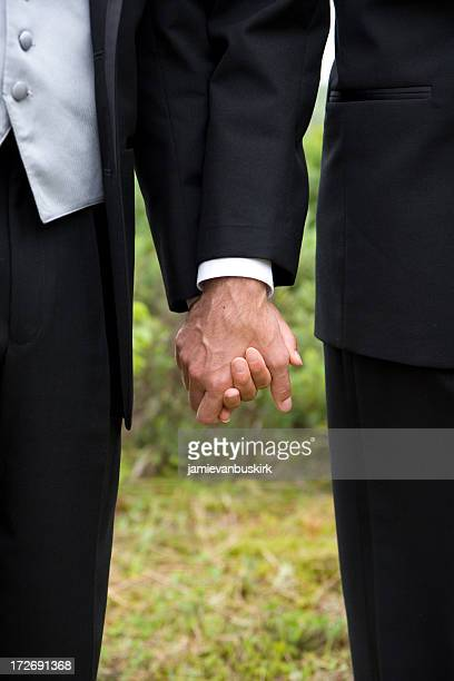 Gay wedding grooms holding hands
