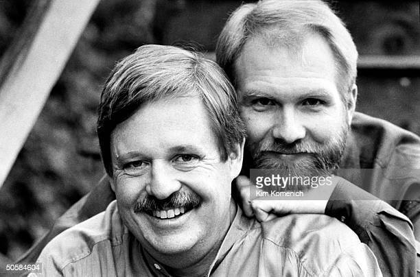 Gay writer Armistead Maupin posing w lover Terry Anderson who tests HIVpositive is on AZT