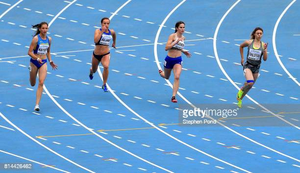 Gayane Chiloyan of Armenia wins her round of the girl's 200m during day three of the IAAF U18 World Championships on July 14 2017 in Nairobi Kenya