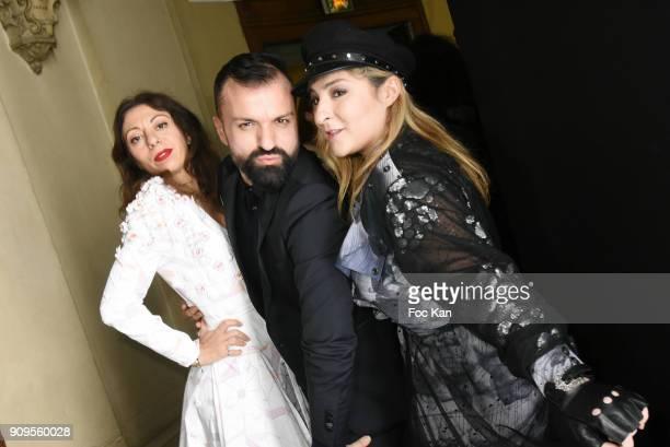 Gayanee Pierre designer Julien Fournie and Marilou Berry attend the Julien Fournie Haute Couture Spring Summer 2018 show as part of Paris Fashion...