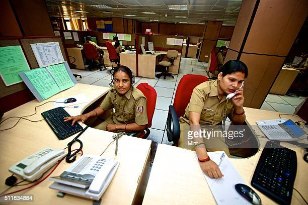 Gayatri a woman cop working in a police control room on April 2 2014 in New Delhi India