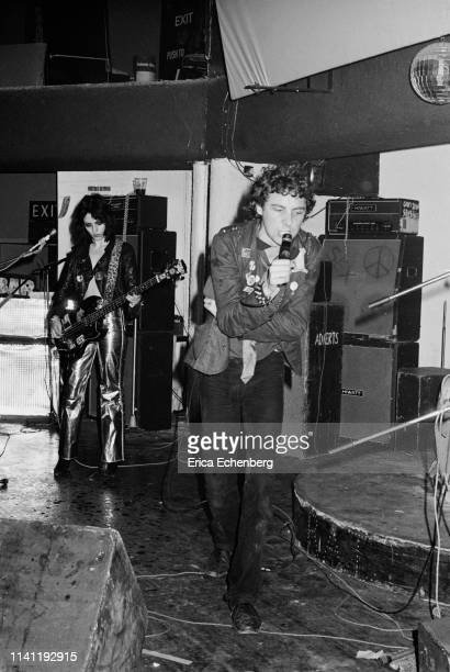 Gaye Advert and TV Smith of punk band The Adverts perform on stage at The Sundown Charing Cross London August 17th 1977 They were supporting The...