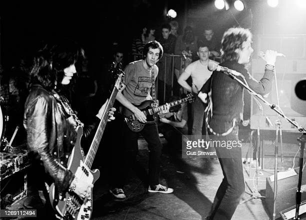 Gaye Advert, Howard Pickup and TV Smith of The Adverts perform on stage at the Music Machine, Camden, London, England, on April 24, 1978.