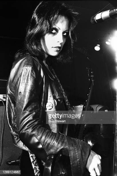 Gaye Advert of punk band The Adverts, performs on stage as support to The Jam at The Roxy, London, England, on 15th March 1977.