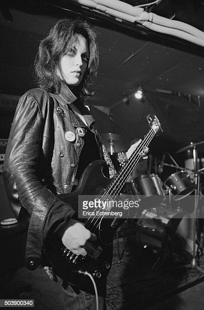 Gaye Advert of punk band The Adverts performs on stage at the Roxy Club Covent Garden London 1977