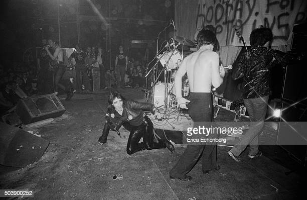 Gaye Advert of The Adverts on stage with English punk band the Damned The Roundhouse London 1977