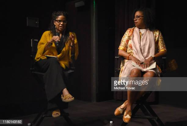 Gaye Theresa Johnson and Robin Coste Lewis participates in a panel discussion after the Los Angeles premiere of Toni Morrison The Pieces I Am on June...