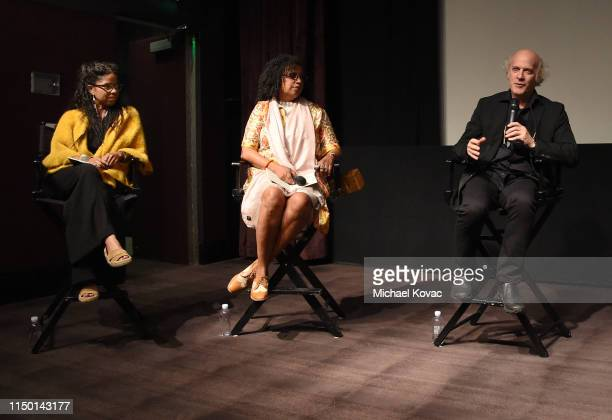 Gaye Theresa Johnson Robin Coste Lewis director Timothy GreenfieldSanders and Kathryn Bostic participate in a panel discussion after the Los Angeles...