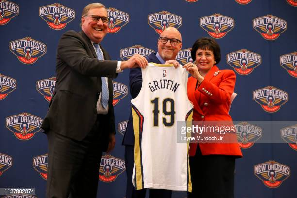 Gayle Benson Owner of the New Orleans Pelicans poses for a photo with Executive Vice President of Basketball Operations David Griffin during an...