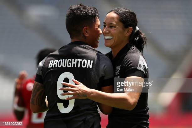 Gayle Broughton and Shiray Kaka of Team New Zealand celebrate Broughton scoring a try in the Women's pool A match between Team New Zealand and Team...