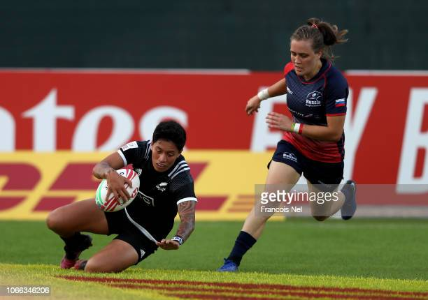Gayle Broughton of New Zealand scores a try against Russia on day one of the Emirates Dubai Rugby Sevens HSBC World Rugby Sevens Series at The Sevens...