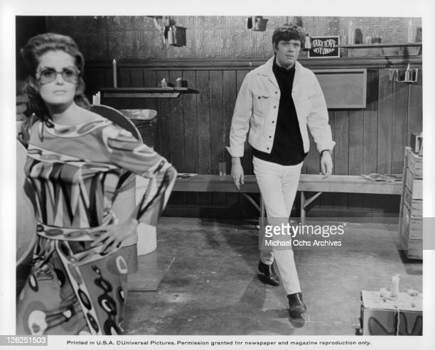 Gayle Hunnicutt followed by Michael Sarrazin in a scene from the film 'Eye Of The Cat' 1969