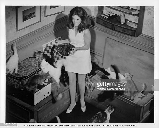 Gayle Hunnicutt surrounded by cats in a scene from the film 'Eye Of The Cat' 1969