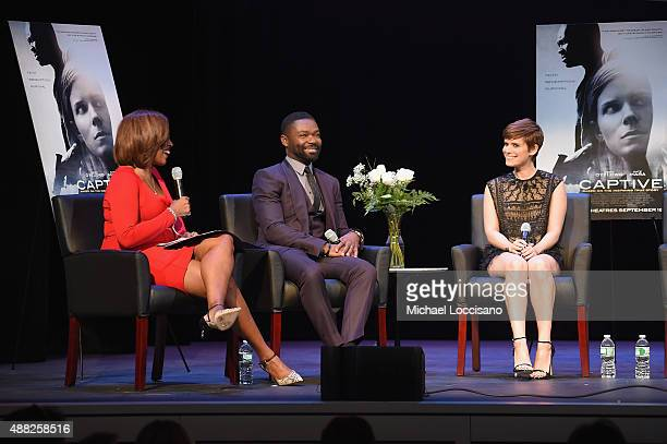 Gayle King Actor David Oleyowo and actress Kate Mara speak onstage during the New York City Special Screening of Captive at the Sheen Center on...