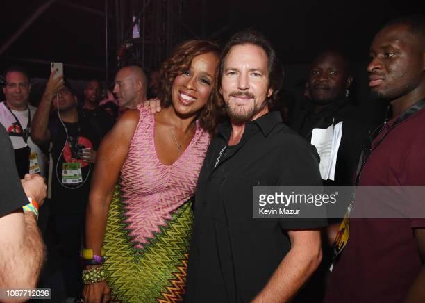 Gayle King and Eddie Vedder pose backstage during the Global Citizen Festival Mandela 100 at FNB Stadium on December 2 2018 in Johannesburg South...