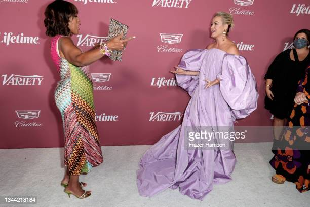 Gayle King and Honoree Katy Perry attends Variety's Power Of Women at Wallis Annenberg Center for the Performing Arts on September 30, 2021 in...