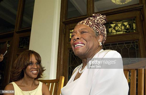 Gayle King and Maya Angelou talk at the Abyssian Development Corporation's tenth annual Harlem Renaissance Day of Commitment, June 15, 2004 in New...