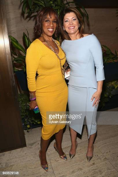 Gayle King and Norah O'Donnell attend The Hollywood Reporter's Most Powerful People In Media 2018 at The Pool on April 12 2018 in New York City