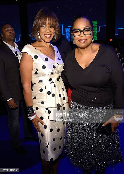 Gayle King and Oprah Winfrey attend The Robin Hood Foundation's 2016 Benefit at Jacob Javitz Center on May 9 2016 in New York City