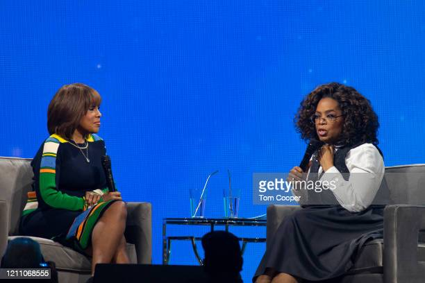 Gayle King and Oprah Winfrey speak during Oprah's 2020 Vision: Your Life in Focus Tour presented by WW at Pepsi Center on March 07, 2020 in Denver,...