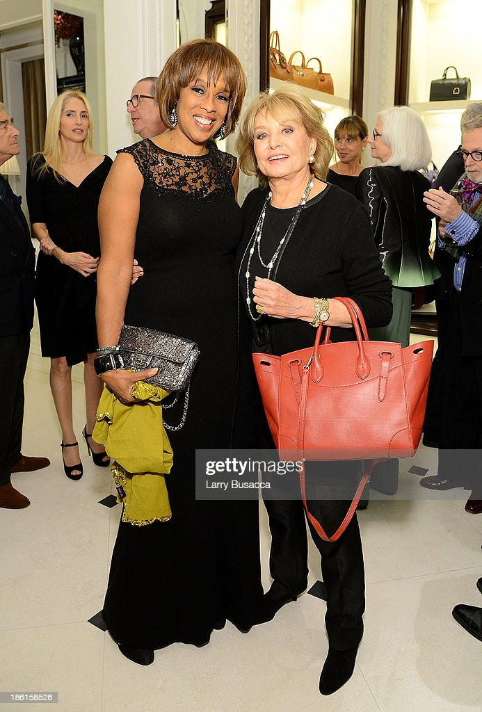 Gayle King (L) and tv personality Barbara Walters attend Ralph Lauren Presents Exclusive Screening Of Hitchcock's To Catch A Thief Celebrating The Princess Grace Foundation at Ralph Lauren Women's Store on October 28, 2013 in New York City.