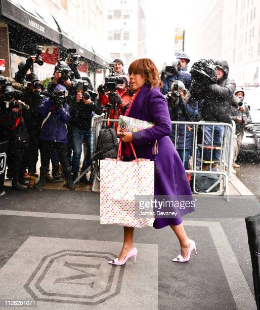 Gayle King arrives to The Mark Hotel for Meghan Duchess of Sussex's baby shower on February 20 2019 in New York City