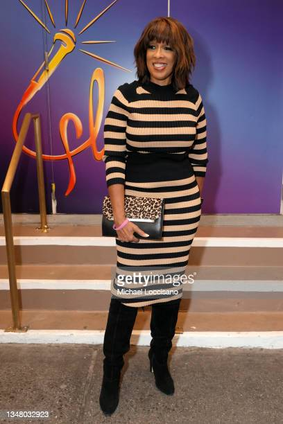 """Gayle King attends """"Freestyle Love Supreme"""" opening night at Booth Theater on October 19, 2021 in New York City."""