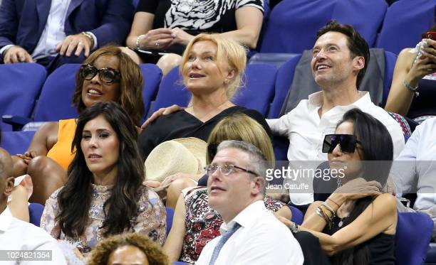 Gayle King Hugh Jackman and his wife Deborralee Furness USTA Foundation board member David Scharf and Cheryl Scharf attend the opening night gala of...