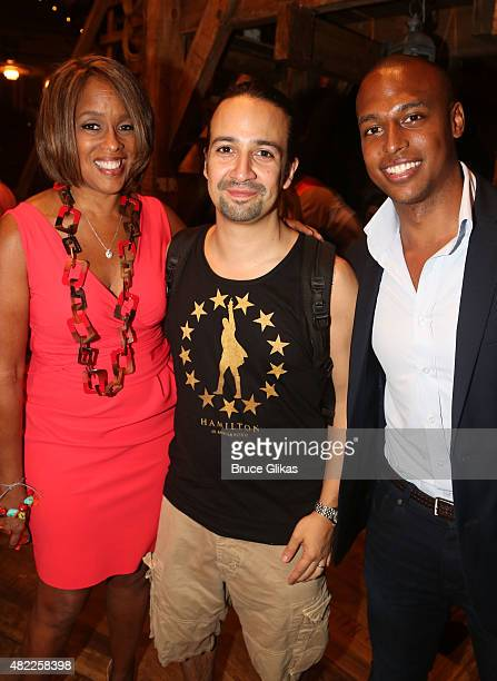 Gayle King Lin Manuel Miranda and William Bumpus Jr pose backstage at the hit musical Hamilton on Broadway at The Richard Rogers Theater on July 28...