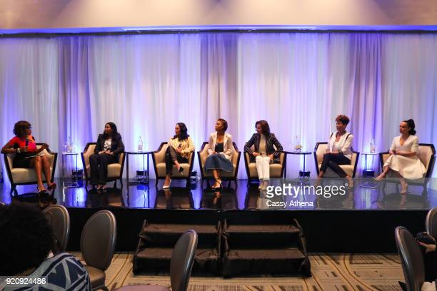 Gayle King moderates a pannel hosting Cookie Johnson Ayesha Curry Jada Paul Elaine Baylor Tracy Wilson Mourning and Adrienne Bosh as The NBWA...