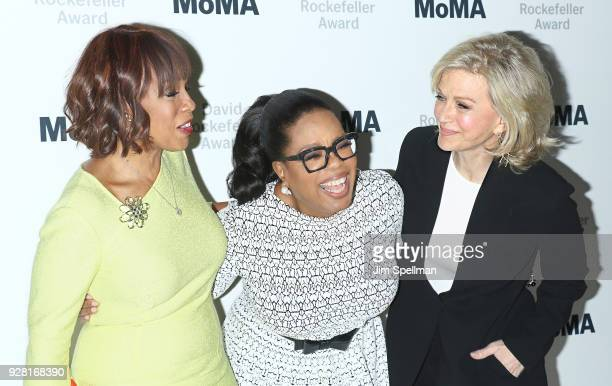 Gayle King Oprah Winfrey and Diane Sawyer attend the 2018 MoMA David Rockefeller Award Luncheon Honoring Oprah at The Ziegfeld Ballroom on March 6...