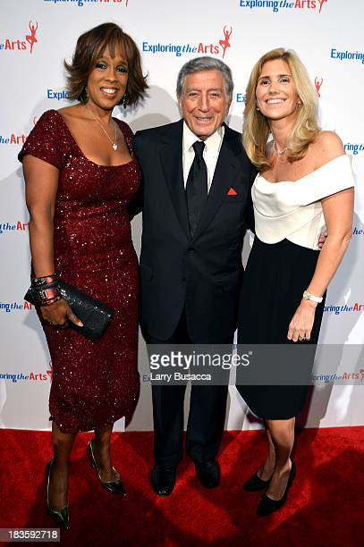 Gayle King Tony Bennett and Susan Benedetto attend Exploring the Arts Gala to support arts education in public high schools at Cipriani Wall Street...