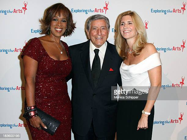 Gayle King Tony Bennett and Susan Benedetto attend the 7th annual Exploring the Arts gala at Cipriani Wall Street on October 7 2013 in New York City