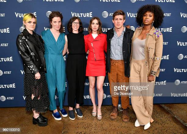 Gayle Rankin Liz Flahive Carly Mensch Alison Brie Chris Lowell and Sydelle Noel pose during Vulture Festival presented by ATT The Gorgeous Ladies of...