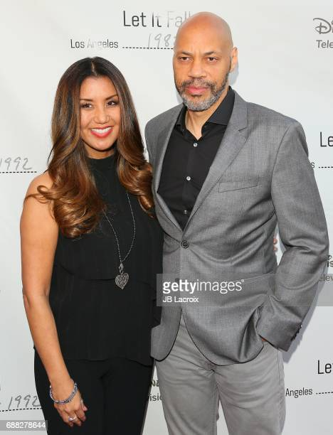 Gayle Ridley and John Ridley arrive to the premiere of 'Let It Fall Los Angeles 19821992' at California African American Museum on April 18 2017 in...