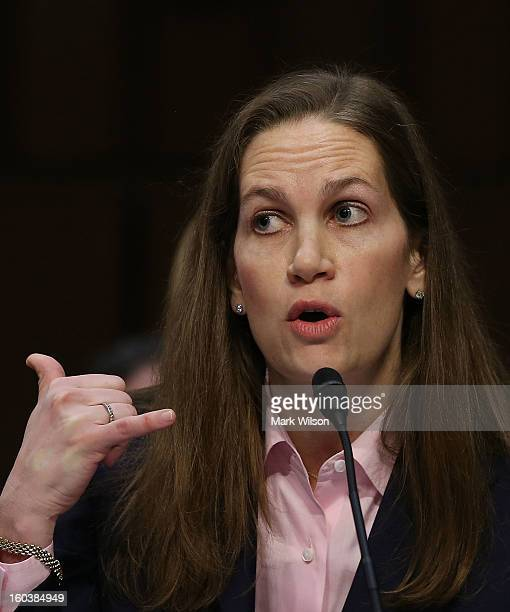 Gayle Trotter Attorney and Senior Fellow Independent Women's Forum testifies during a Senate Judiciary Committee hearing on gun violence January 30...