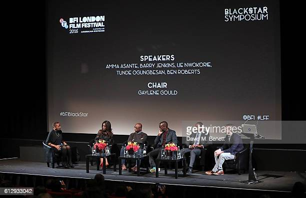 Gaylene Gould Amma Asante Barry Jenkins Ije Nwokorie Tunde Ogungbesanand Ben Roberts attend BFI London Film Festival BLACK STAR Symposium on October...